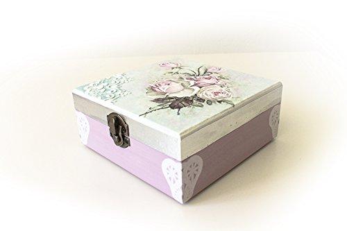 Caja de madera, joyero, motivos florales ideal Pintada y decorada a mano