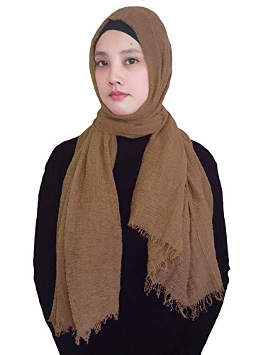 Lina & Lily Solid Color Crepe Crinkled Scarf Hijab with Frayed Edges (Light Brown)
