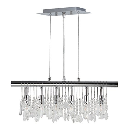 Collection Linear Pendant - Worldwide Lighting Nadia Collection 6 Light Chrome Finish and Clear Crystal Linear Pendant 24