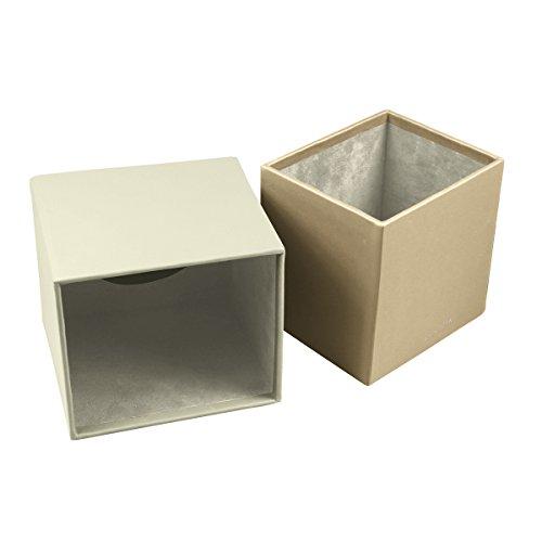 Lucrin - Quadratischer Kosmetiktuchbehälter - Gebrochen Weiß - Glattleder