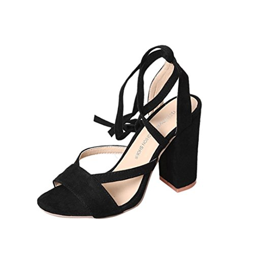 Knöchelriemen Damen Party High Schwarz Fisch Mund Sandalen Heels Bandage Schuhe Transer Dicke XqdASA