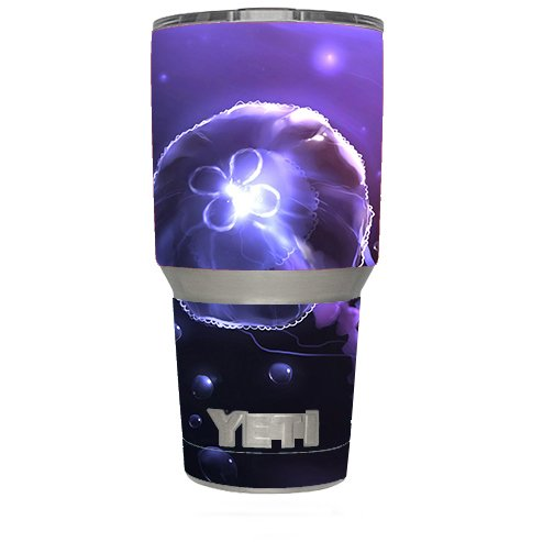 Skin Decal Vinyl Wrap (6-piece kit) for Yeti 30 oz Rambler Tumbler Cup / Under Water Jelly Fish