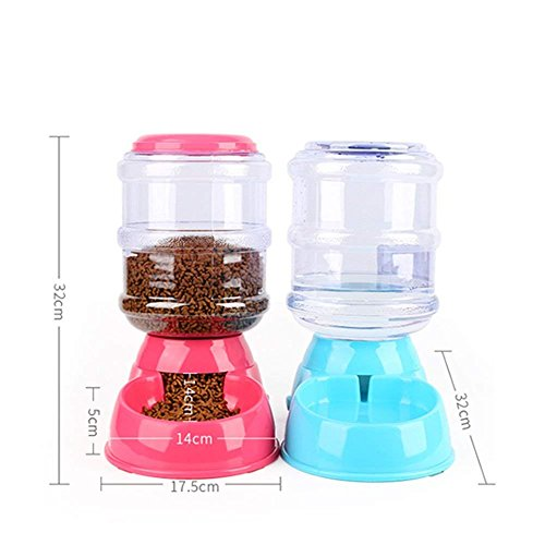 Jutao Pet Feeder and Waterer, Automatic Self- dispenser Food Feeder Gravity Drinking Fountains 1 Gallon/2.2lbs/ 3.5L for Dog and Cat (Waterer) by Jutao