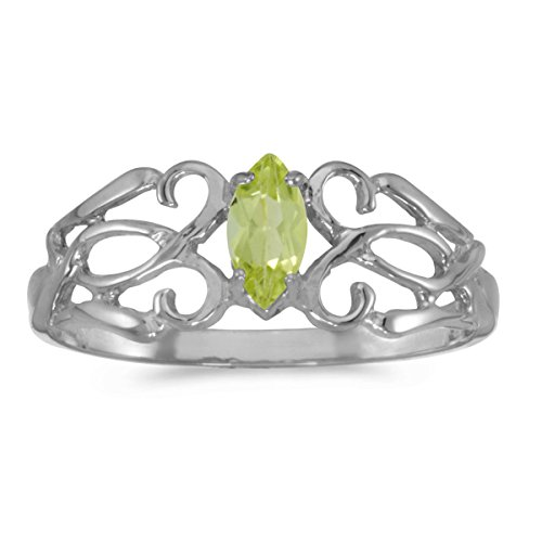 0.21 Carat ctw 10k Gold Marquise Green Peridot Solitaire Filigree Design Antique Engagement Fashion Ring - White-gold, Size (Gold Marquise Peridot Ring)