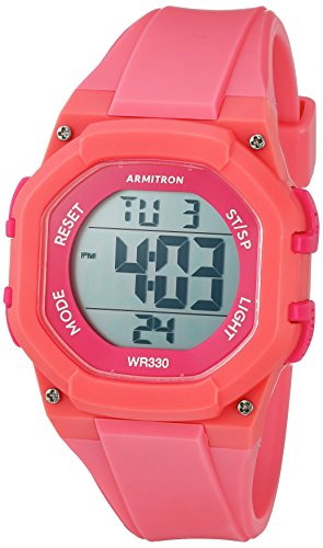 - Armitron Sport Women's 45/7080PNK Hot Pink Accented Digital Chronograph Coral Colored Resin Strap Watch