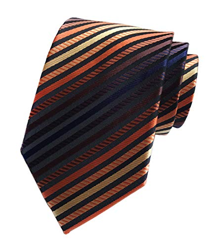 Mens Bronze Black Narrow Stripe Party Ties Elegant Banquet Formal Prom Necktie