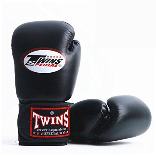 Black Brand Boxing Gloves PU Leather guantes MMA manoplas boxeo Muay Thai karate taekwondo Training Boxing Glove : 1 Pair (8 oz,10 oz,12 oz,14 oz) by Twins