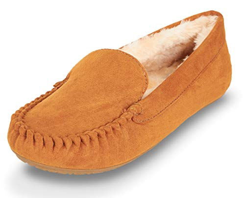 Chestnut Moccisson Lined Womens W Memory Faux Fur Basic Outdoor Slipper Indoor Foam Floopi 320 xRqw0p7w