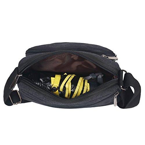 JAKAGO Borsa a tracolla con tracolla in tela casual impermeabile piccola Borsa a tracolla con borsa a tracolla in tela casual da uomo Iphone Mini borsa con tasche multipla per viaggi di lavoro, viaggi