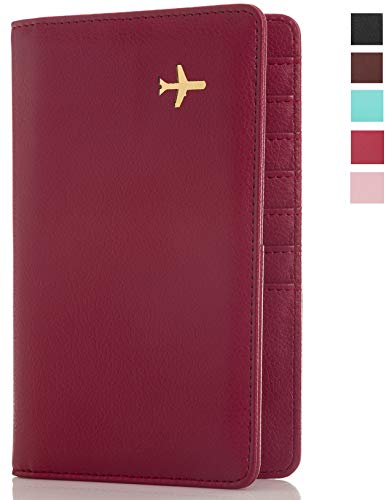 All in One Travel Wallet - 2 Passport Holder + Gift Box/cash tickets cards pen (Marsala) ()