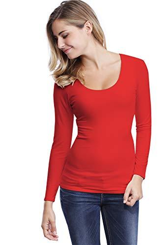 Maglietta Rosso In Collo Lunghe Rotondo Maniche Modal Zaza rWqaArpw0