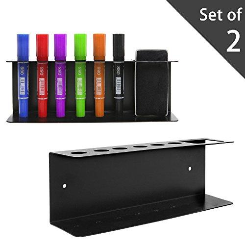 Set of 2 Wall Mountable Metal Dry Erase Whiteboard Marker & Eraser Holder Tray, Black Durable Dry Erase Marker