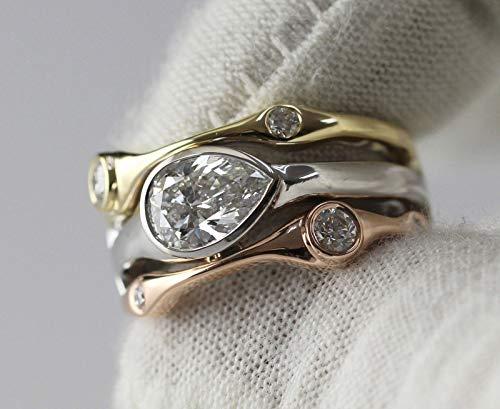 (Diamondtresure 14k Gold Over Unique Ring 3 Tone Horizontal Bezel Pear Shape Moissanite Ring)