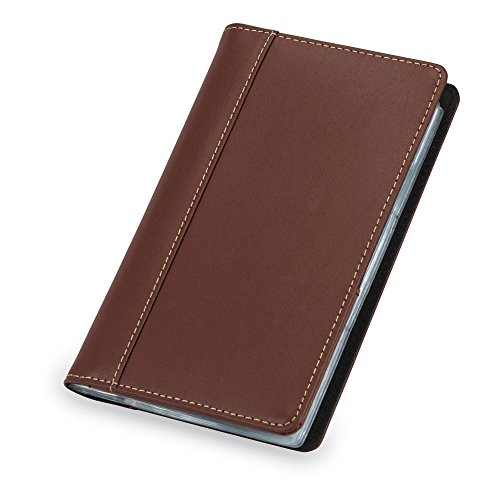 Samsill Contrast Stitch Leather Business Card Holder/Organizer Men & Women, Book Holds 120 Cards (Brown Leather Organizer)