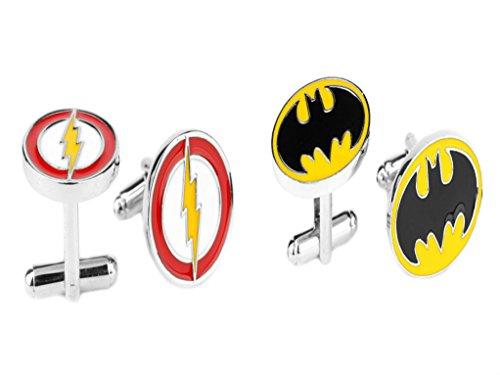 J&C DC Comics Batman and Flash Logos (2 Sets) Cufflinks