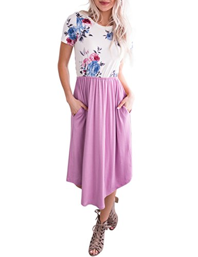 Crew Pockets Light Dress Print Women's Purple Short Sleeve with MEROKEETY Pleated Neck Floral Casual Midi xX7qSfa