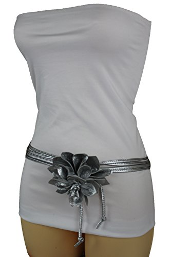 Fashion Belt Silver Faux Leather Skinny Wrap Flower Buckle (Silver XS-Medium 20