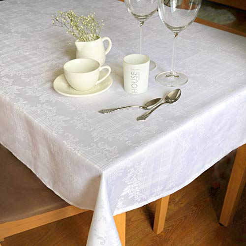 AHOLTA DESIGN Stain Resistant White Tablecloth Polyester Table Cover - Rectangle Square Round Washes Easily Non Iron - Thanksgiving Christmas New Year Eve Dinner Wedding (White, Rectangular 52