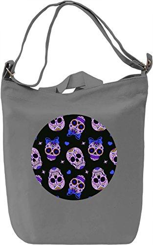 Cute Skulls Borsa Giornaliera Canvas Canvas Day Bag| 100% Premium Cotton Canvas| DTG Printing|