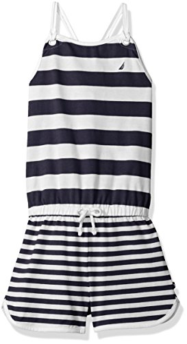 Nautica Toddler Girls' Stripe Jersey Romper with Grommet Detail and Rope Bow, Navy, 3T