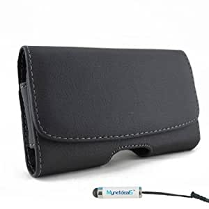Nokia XL Horizontal Leather Case with Magnetic closure with belt clip and belt loops (MH078) (Plus Size ONLY Fits Phone with Thick Cover such as Otterbox Commuter on, NOT for Phone without Cover on It ) + MYNETDEALS Mini Touch Screen Stylus