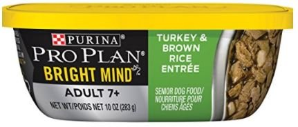 Purina Pro Plan Bright Mind Adult 7+ Wet Dog Food, 2 Flavor Bundle - Pack of 6-10 Ounces Each - Plus Dog Bone…