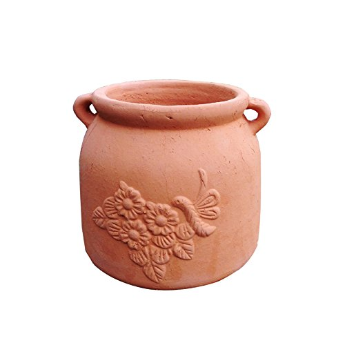 Heavy Pottery (Newly Designed Heavy Hand Pressed Ancient Stressed Terra Cotta Round Flower Pot or Planter with Loop Handles Forming a Water Jug with Dragonfly Embellished Weighs 7.3 Pounds)