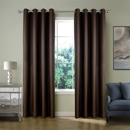 FirstHomer Nickle Grommet Top Room Darkening Thermal Insulated Heavy Weight Textured Tiny Plaid Linen For Bedroom curtains,Brown,50Wx63L Inch(1 - Store Vsp Glasses