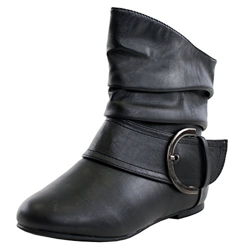Women's Ankle Booties Buckle Mid Calf Buckle Slouch Flat Heel Strap Fashion Shoes - (BLACK) - 6