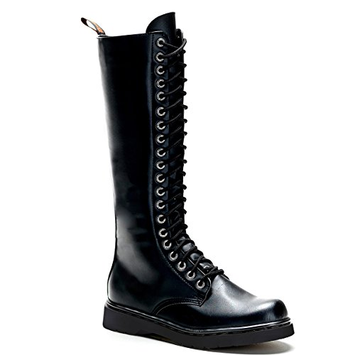 Summitfashions Mens Lace Up Combat Boots Black Vegan Leather Boots Knee High Zipper Men Sizing Size: 11