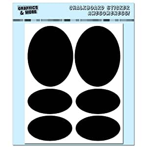 Graphics and More Simple Ovals Container Bin Labels Drink Markers Chalkboard Vinyl Stickers - Set of 4 Sheets