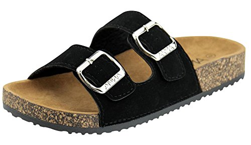 Anna Shoes Women's Strappy Buckle Cork Sole Slide Sandal (7 B(M) US, Black) -
