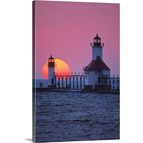 (GREATBIGCANVAS Gallery-Wrapped Canvas Entitled Lighthouse at Sunset, St. Joseph, Michigan by Panoramic Images 12