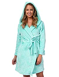 Patricia Women's Knee Length Ultra Soft Premium Plush Shawl Collar Hooded Robe
