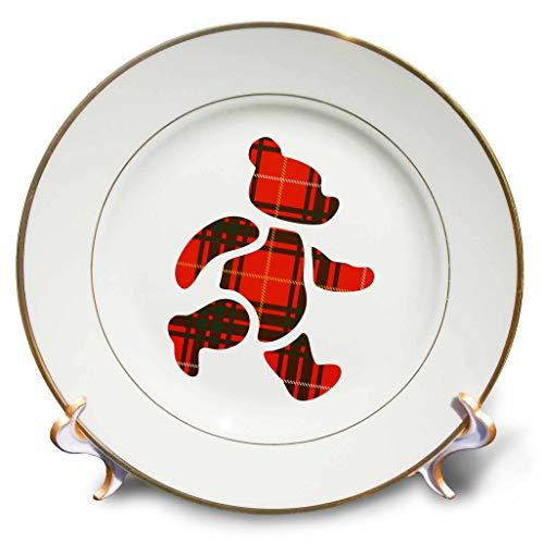 (3dRose Russ Billington Designs - Adorable Big Red Tartan Teddy Bear - 8 inch Porcelain Plate (cp_287512_1))