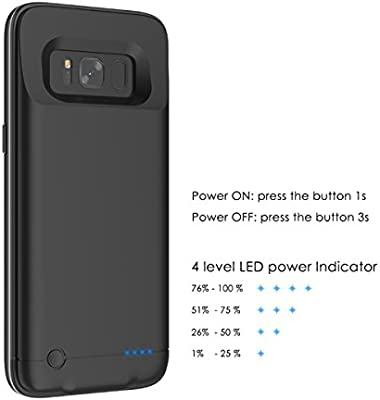 Funda Batería Samsung S8 Plus, Moonmini Ultra Slim 5200 Batería Externa Recargable Portátil Power Bank Backup Cargador Funda Protectora Carcasa para ...