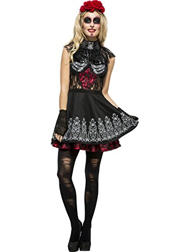 (Fever Day Of The Dead Costume Black With Dress Attached Under Kirt &)