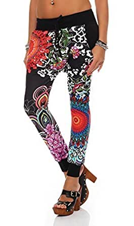 zarmexx-Pantalones de jogging-de flores hippy- Look pantalones de jogging Jogger verano pantalones talla única negro negro Talla única