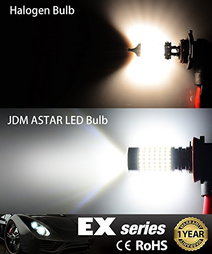 JDM ASTAR 1200 Lumens Extremely Bright 144 EX Chipsets H11 LED Fog Light Bulbs With Projector For DRL Or Fog Lights Xenon White