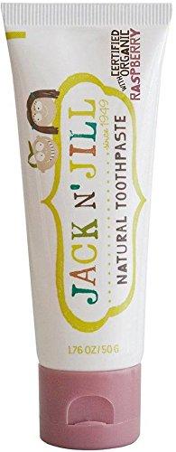 JACK N 'JILL - Natürliche Zahnpasta Himbeergeschmack - Frei von Fluorid und Zucker - Sehr mild - Geeignet für Kinder und Erwachsene - Erhältlich in verschiedenen Geschmacksrichtungen - 50 g Yumi Bio Shop