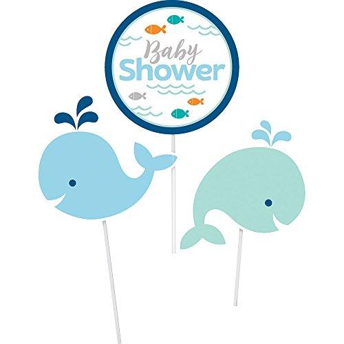 Blue Whale Baby Shower Decorative Sticks (3 ct)