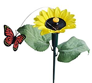 Vnfire Solar / Battery Powered Flying Wobble Fluttering Butterfly w./ Sunflower Yard Garden Plants Flowers Stake Ornament Decor