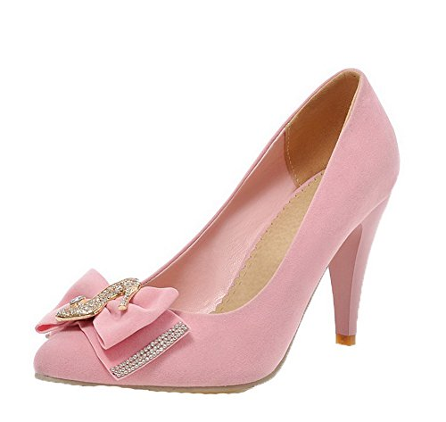Amoonyfashion Womens Pull-on Hoge Hakken Frosted Solid Puntschoen Pumps-schoenen Roze