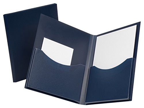 Oxford Poly Double Stuff Gusseted 2-Pocket Folder, 200-Sheet Capacity, Navy (OXF57455)
