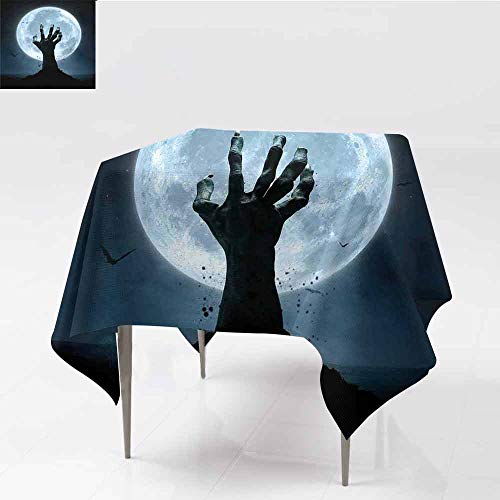 Jbgzzm Halloween Washable Tablecloth Realistic Zombie Earth Soil Full Moon Bat Horror Story October Twilight Themed Indoor Outdoor Camping Picnic W36 xL36 Blue Black