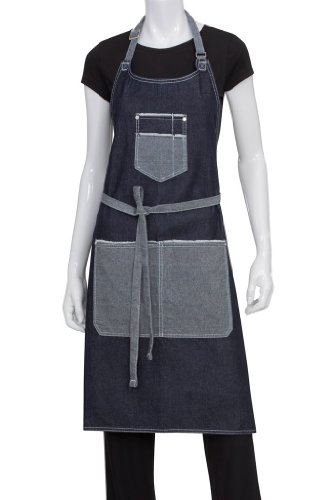 Chef Works Unisex Bronx Bib Apron w/Scoop Neck, Indigo Blue, One Size