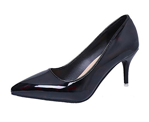 s For Women Pointed To Work Casual Pumps Shoes Pin Heel (7.5 US 25cm, Black and Red) (Fancy Heel)
