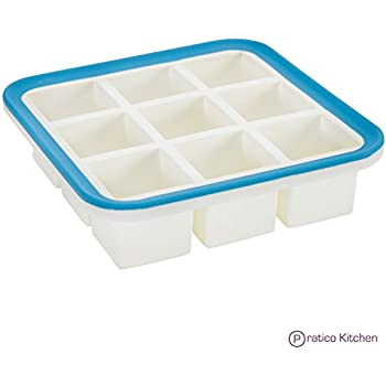 Superb Cube 1.4 Inch Cube Silicone Ice Cube Tray with EZ-Release & No-Spill Steel Reinforced Rim - Makes 9 Cubes