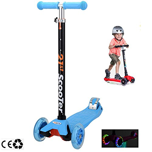 Scooters for Kids,Kingo 3 Wheel Adjustable Height Scooter with Led Light Up Wheels for Over 3 Years Old Boy and Girl (Blue)