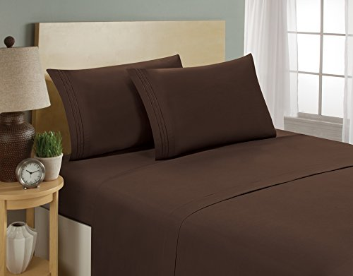 1800 Series Egyptian Collection 3 Line Microfiber 4 Piece Bed Sheet Set (Queen, …